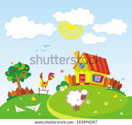 Rural landscape with farm animals. Vector illustration.  - stock vector