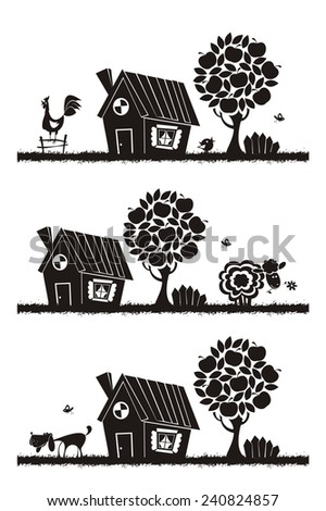 Rural landscape with farm animals. Vector silhouettes.  - stock vector