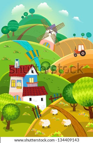 Rural landscape with hills, house, mill and tractor - stock vector