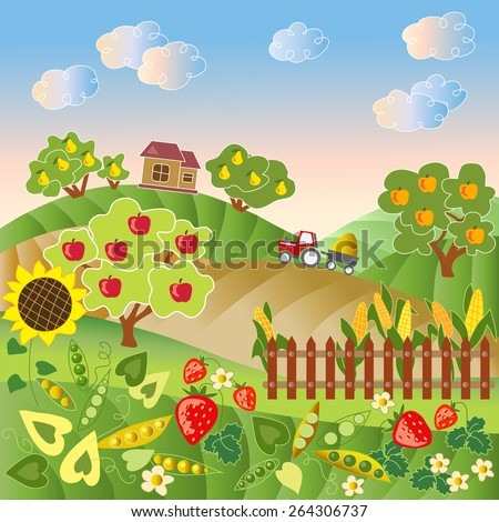 Rural landscape with hills, trees, plants, fence, house and tractor. Vector illustration.  - stock vector