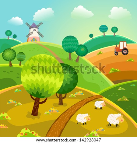 Rural landscape with hills, trees, sheeps and tractor. Vector. - stock vector