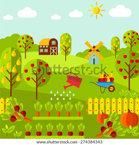 Rural landscape with organic vegetables, fruit garden, farm, mill. Vector icons collection eco farm products   - stock vector