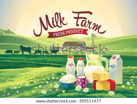 Rural landscape with set of milk products from farm milk and herd cows. - stock vector