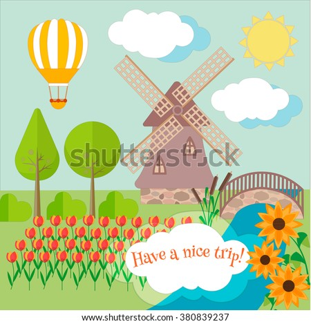 Rural landscape with tulips, windmill and a bridge. Travel in Holland. - stock vector