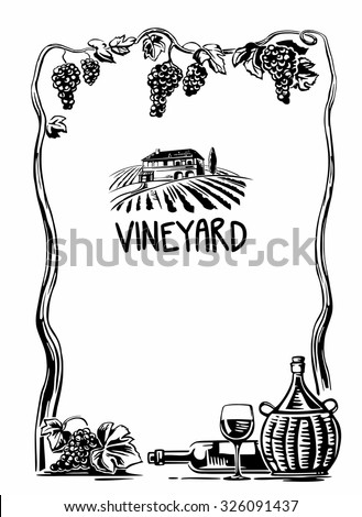 Rural landscape with villa and vineyard fields. Bunch of grapes, a bottle, a glass and a jug of wine. Black and white vintage vector high illustration for label, poster, web, icon. - stock vector