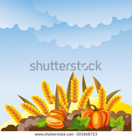 Rural landscape with wheat ears and pumpkin. Harvest vector illustration. - stock vector
