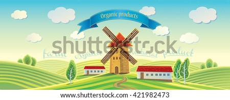 Rural landscape with windmill and tape as a design element. Summer landscape. - stock vector