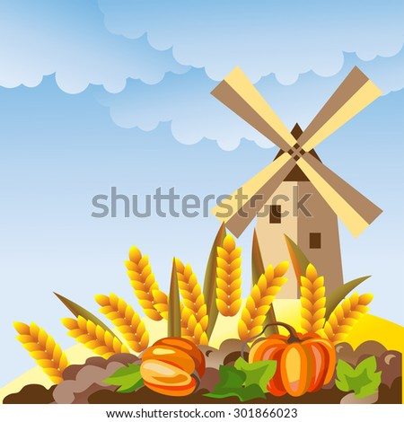 Rural landscape with windmill. Wheat ears, pumpkin and mill vector illustration. - stock vector
