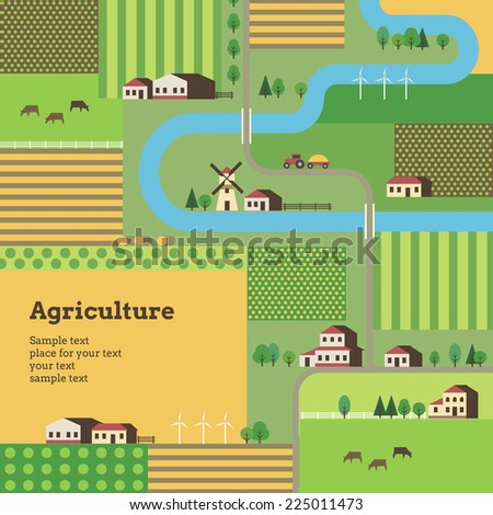Rural life and agriculture. Template of background for your design. - stock vector