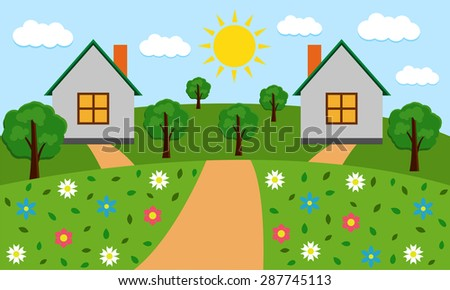 Rural sunny landscape with houses, hills, road, trees and flowers. Vector illustration. - stock vector