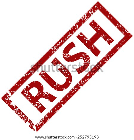 Rush grunge rubber stamp on a white background. Vector illustration - stock vector