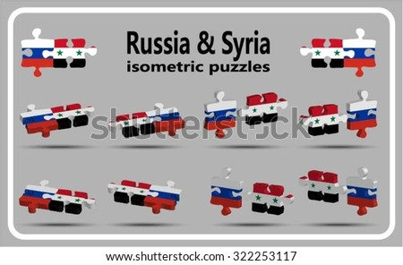 Russia and Syria - isometric puzzle flags - vector set - stock vector