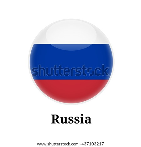 Russia Flag on Button / symbol - stock vector