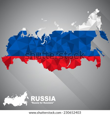 Russia flag overlay on Russia map with polygonal and long tail shadow style (EPS10 art vector) - stock vector