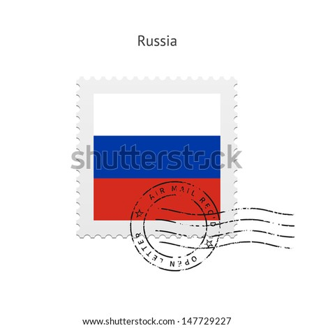Russia Flag Postage Stamp on white background. Vector illustration. - stock vector