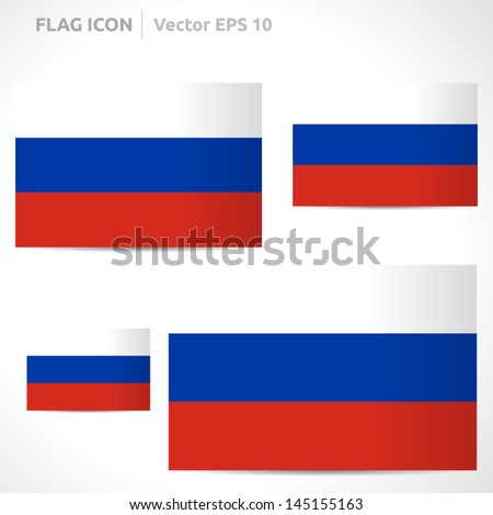 Russia flag template | vector symbol design | color red blue and white | icon set - stock vector