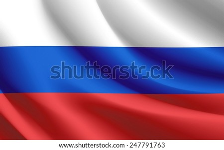 Russia Flag waving realistic fabric effect in vector format - stock vector