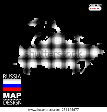 Russia map flag halftone dots effect in vector format - stock vector