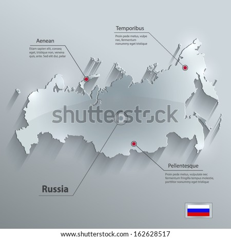 Russia map glass card paper 3D vector - stock vector