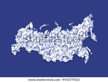 Russia Map Gzhel painting. Traditional Russian pattern. State border of Russian Federation. geography Patriotic illustration - stock vector