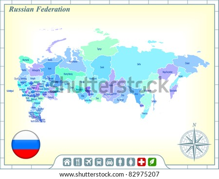 Russia Map with Flag Buttons and Assistance & Activates Icons Original Illustration - stock vector