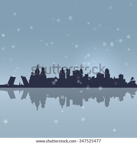 Russia St. Petersburg cityscape silhouette vector background - stock vector
