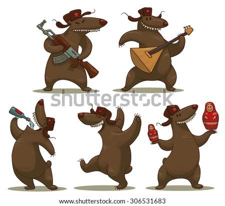 Russian bears set, vector - stock vector