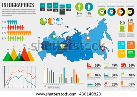Russian Federation map with Infographics elements. Infographics layouts. Vector illustration - stock vector