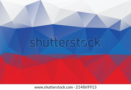Russian flag - triangular polygonal pattern - stock vector