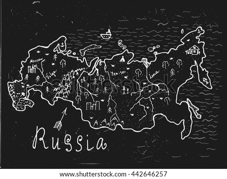 Russian hand drawn map. Editable vector illustration. Geographical concept in plain funny style on a textured blackboard background. Ink drawing concept. - stock vector