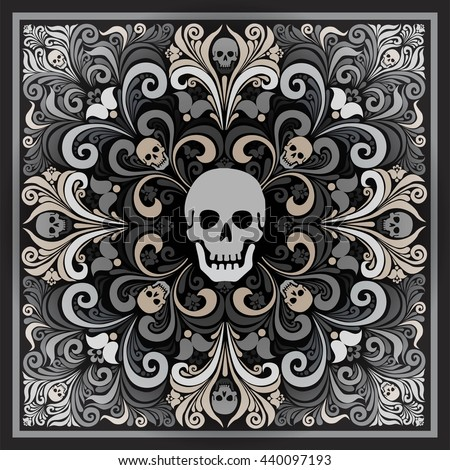 Russian National flower ornament Khokhloma and skull. Design bandanas, invitations, motorcycle club, rock, metal hipster style. Composition squared. tattoo. vector - stock vector