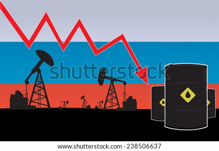 Russian oil price fall on oil pump field and Russian flag background.vector illustration - stock vector
