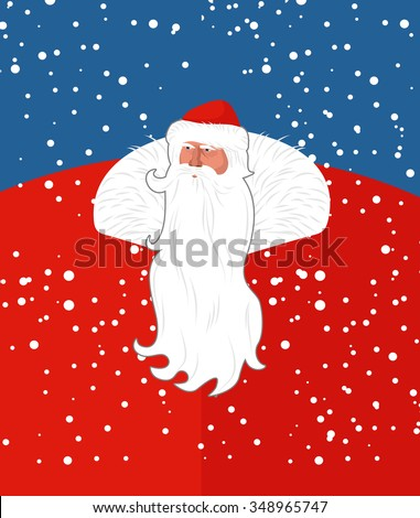 Russian Santa Claus. New years grandfather from Russia. Christmas character with long beard. Postcard, poster for  winter holidays: Christmas and new year.  - stock vector