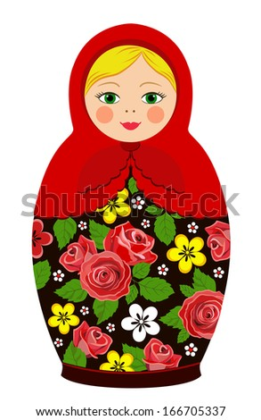 Russian tradition matryoshka dolls in vector - stock vector