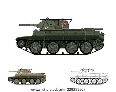 Russian WW2 BT-7 tank - stock vector
