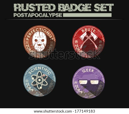 Rusted Badge Set - stock vector