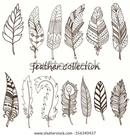 Rustic decorative feathers, doodle vintage feathers collection, Vector - stock vector