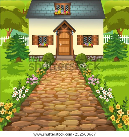 rustic house in the middle of nature - stock vector