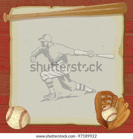 Rustic, vintage baseball party with old fashioned baseball, glove and bat on top of grungy vintage paper with a red woodgrain background. Old school baseball player swinging his bat is faded. - stock vector