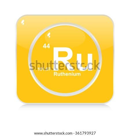 ruthenium chemical element button - stock vector