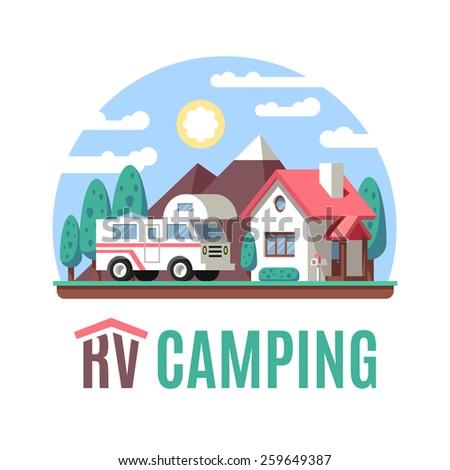 RV Motor home landscape, class C, RV logo. Volume flat vector illustration. - stock vector