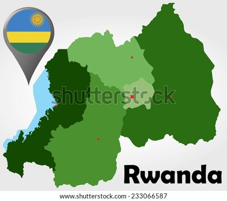 Rwanda political map with green shades and map pointer. - stock vector
