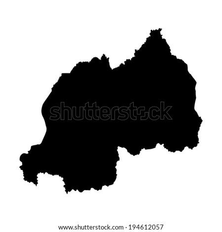 Rwanda vector map  isolated on white background. High detailed silhouette illustration.  - stock vector
