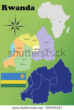 Rwanda vector set. Isolated - stock vector