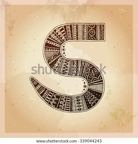 S. Decorative letter. Hand drawn alphabet, ethnic mehndi (henna) style. Vintage background, vector illustration. - stock vector