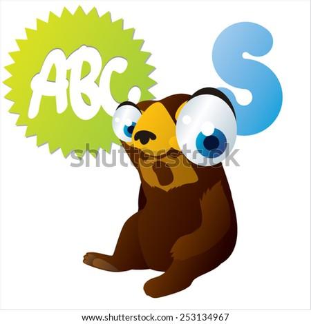 S is for Sun Bear - stock vector