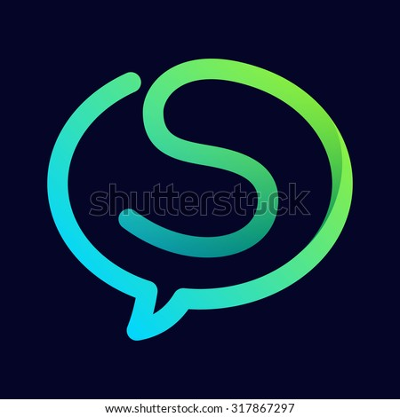 S letter with speech bubble line logo. Abstract trendy letter multicolored vector design template elements for your application or corporate identity. - stock vector