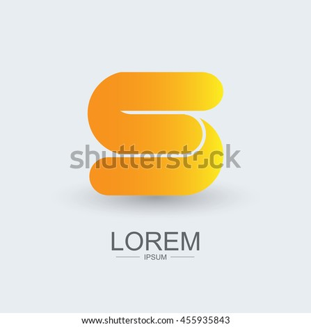 S round shape logo icon yellow gradient, alphabet letter - stock vector