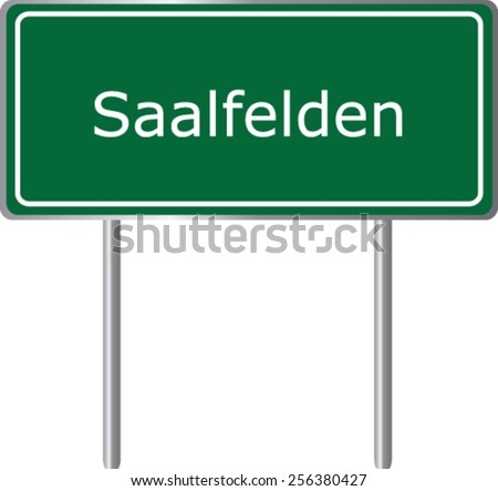 Saalfelden, Austria, road sign green vector illustration, road table - stock vector