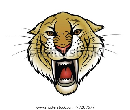 Saber tooth tiger - stock vector